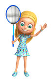 Kid girl with Badminton. 3d rendered illustration of Kid girl with Badminton Royalty Free Stock Image