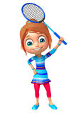 Kid girl with Badminton. 3d rendered illustration of Kid girl with Badminton Stock Photo