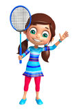 Kid girl with Badminton. 3d rendered illustration of Kid girl with Badminton Royalty Free Stock Photo