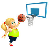 Kid girl with Basket ball. 3d rendered illustration of Kid girl with Basket ball Royalty Free Stock Image