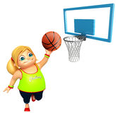 Kid girl with Basket ball. 3d rendered illustration of Kid girl with Basket ball Stock Photography