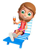 Kid girl with  Beach chair and juice glass Royalty Free Stock Photography