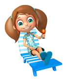 Kid girl with  Beach chair and juice glass Royalty Free Stock Images