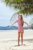 Kid girl on the beach Royalty Free Stock Photos