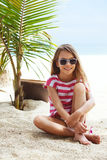 Kid girl on the beach Stock Photography