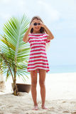 Kid girl on the beach Royalty Free Stock Images
