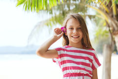 Kid girl on the beach Stock Image