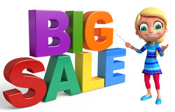 Kid girl with Big sale sign. 3d rendered illustration of kid girl with Big sale sign Royalty Free Stock Photography