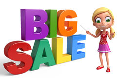 Kid girl with Big sale sign. 3d rendered illustration of kid girl with Big sale sign Stock Photo