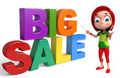 Kid girl with Big sale sign. 3d rendered illustration of kid girl with Big sale sign Stock Image