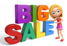 Kid girl with Big sale sign. 3d rendered illustration of kid girl with Big sale sign Stock Images