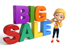 Kid girl with Big sale sign. 3d rendered illustration of kid girl with Big sale sign Royalty Free Stock Image