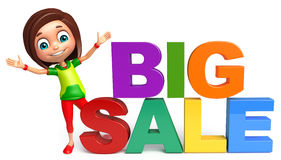 Kid girl with Big sale sign. 3d rendered illustration of kid girl with Big sale sign Royalty Free Stock Images