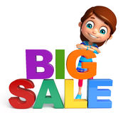 Kid girl with Big sale sign. 3d rendered illustration of kid girl with Big sale sign Stock Photography