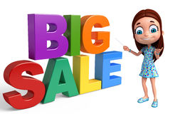 Kid girl with Big sale sign. 3d rendered illustration of kid girl with Big sale sign Stock Photos
