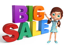 Kid girl with Big sale sign. 3d rendered illustration of kid girl with Big sale sign Royalty Free Stock Photos