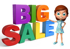 Kid girl with Big sale sign. 3d rendered illustration of kid girl with Big sale sign Royalty Free Stock Photo