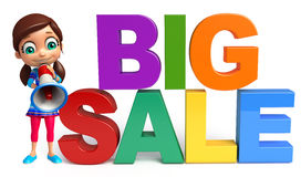 Kid girl with Big sale sign. 3d rendered illustration of kid girl with Big sale sign & Loud speaker Royalty Free Stock Images