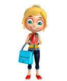 Kid girl with Blood drop and schoolbag Royalty Free Stock Photography