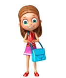 Kid girl with Blood drop and schoolbag Stock Photo