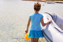 Kid girl in boat at formentera Estany des Peix Stock Photos