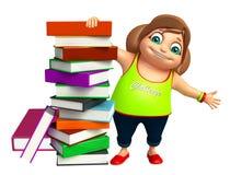 Kid girl with  book stack. Kid girl with book stack Stock Photography