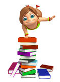 Kid girl with  book stack. 3d rendered illustration of kid girl with book stack Royalty Free Stock Images