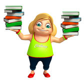 Kid girl with  book stack. 3d rendered illustration of kid girl with book stack Stock Image