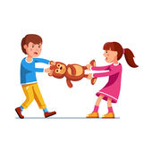 Kid girl, boy brother and sister fighting over toy. Kids girl and boy brother and sister fighting over a toy. Tearing teddy bear apart pulling it holding legs vector illustration