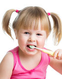 Kid girl brushing teeth isolated Stock Images