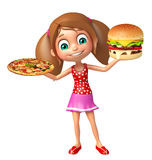 Kid girl with Burger and Pizza Royalty Free Stock Image