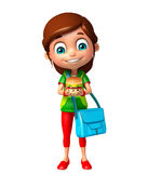 Kid girl with Burger and schoolbag Stock Photography