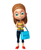 Kid girl with Burger and schoolbag Stock Images