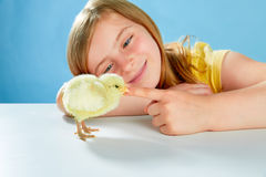 Kid girl with chicks playing on blue Royalty Free Stock Image