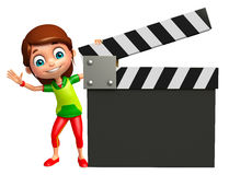 Kid girl with Clapper board Stock Photography