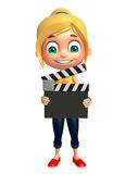 Kid girl with Clapper board Royalty Free Stock Images