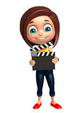 Kid girl with Clapper board. 3d rendered illustration of kid girl with Clapper board Stock Photography