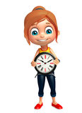 Kid girl with Clock Stock Image