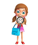 Kid girl with Clock and schoolbag Royalty Free Stock Photo