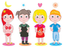 Kid Girl Cute Set_eps stock illustration