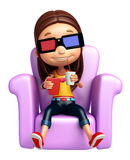 Kid girl with 3D goggle Stock Photography