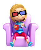 Kid girl with 3D goggle Royalty Free Stock Images