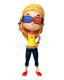 Kid girl with 3D goggle Royalty Free Stock Photos
