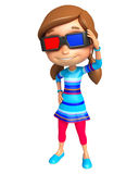 Kid girl with 3D goggle Stock Images