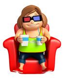 Kid girl with 3D goggle Stock Photo