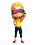 Kid girl with 3D goggle Stock Image