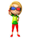 Kid girl with 3D goggle Royalty Free Stock Photography