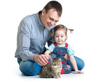 Kid girl and dad play with cat kitten Royalty Free Stock Images
