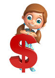 Kid girl with dollar Sign Stock Image