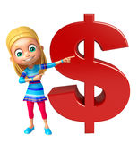 Kid girl with dollar sign Royalty Free Stock Photos